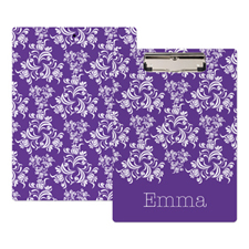 Plum Damask Personalized Clipboard