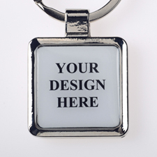 Custom Full Color Imprint Square Metal Keychain (Large)