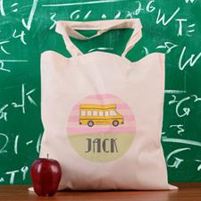 Pink Stripe School Bus Personalized School Tote