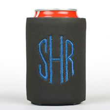 Black Monogrammed Personalized Embroidered Can Cooler