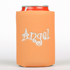 Orange Monogrammed Personalized Embroidered Can Cooler