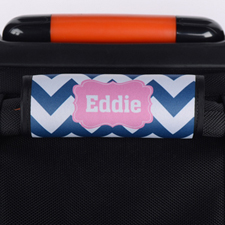 Navy Chevron Pink Personalized Luggage Handle Wrap