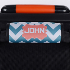 Peacock Chevron Carol Personalized Luggage Handle Wrap