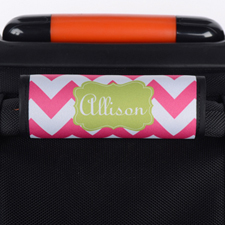 Hot Pink Chevron Lime Personalized Luggage Handle Wrap