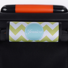 Lime Chevron Aqua Personalized Luggage Handle Wrap