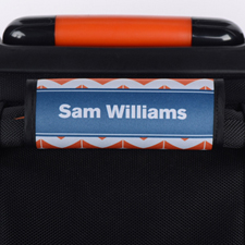 Orange Striped Chevron Navy Personalized Luggage Handle Wrap