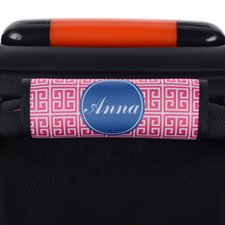 Pink Navy Greek Key Personalized Luggage Handle Wrap