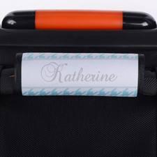 Aqua Houndstooth Personalized Luggage Handle Wrap