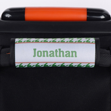 Green Houndstooth Personalized Luggage Handle Wrap