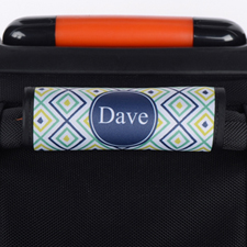 Navy Peacock Ikat Personalized Luggage Handle Wrap