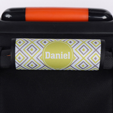 Lime Grey Ikat Personalized Luggage Handle Wrap