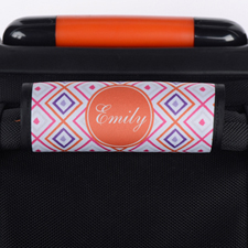 Pink Orange Ikat Personalized Luggage Handle Wrap