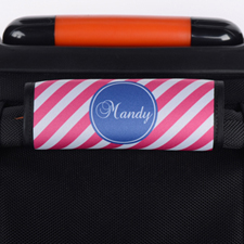 Pink Stripe Personalized Luggage Handle Wrap