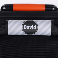 Grey Stripe Personalized Luggage Handle Wrap