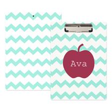Aqua Chevron Apple Personalized Clipboard