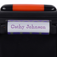 Navy Lime Quatrefoil Personalized Luggage Handle Wrap