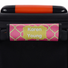 Pink Lime Quatrefoil Personalized Luggage Handle Wrap