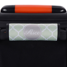 Mint Quatrefoil Grey Personalized Luggage Handle Wrap