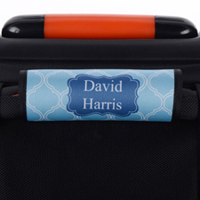 Blue Lime Quatrefoil Personalized Luggage Handle Wrap