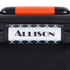 Black Circle Aqua Frame Personalized Luggage Handle Wrap
