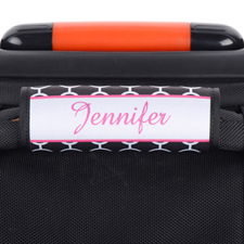 Black Circle Pink Frame Personalized Luggage Handle Wrap