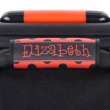 Black and Red Polka Dot Personalized Luggage Handle Wrap