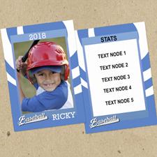 Swirl Baseball Personalized Photo Trading Cards Blue  Set Of 12