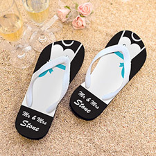 Mrs. Personalized Wedding Flip Flops, Kid's Medium