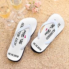 Just Married Personalized Flip Flops, Men Medium