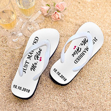 Just Married Personalized Flip Flops, Kid's Medium