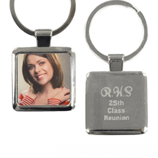 Personalized Photo Engraved Back Metal Square Keychain