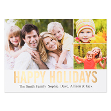 Three Collage Happy Holidays Gold Foil Card