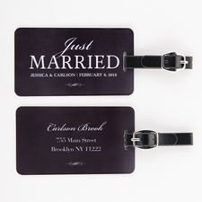 Just Married Personalized Luggage Tag, black