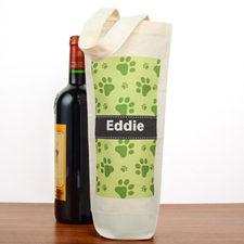 Paw Print Personalized Cotton Wine Tote