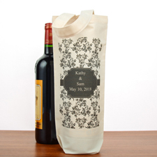 Damask Personalized Cotton Wine Tote