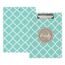 Mint Quatrefoil Personalized Clipboard