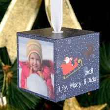 Santa Personalized Wooded Cube Ornament