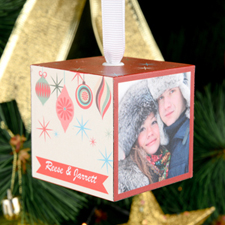 Christmas Ornament Personalized Wooded Cube Ornament