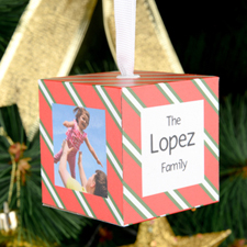 Red Green Stripes Personalized Wooded Cube Ornament