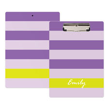 Purple Stripe Personalized Clipboard