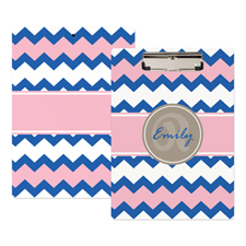 Blue Pink Chevorn Personalized Clipboard