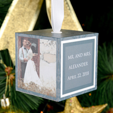 Wedding Personalized Wooded Cube Ornament