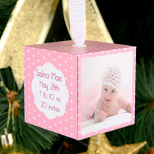 Baby Girl Personalized Wooded Cube Ornament