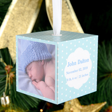 Baby Boy Personalized Wooded Cube Ornament