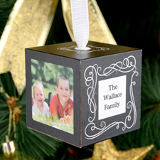 Scroll Personalized Wooded Cube Ornament