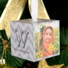 Chevron Personalized Wooded Cube Ornament