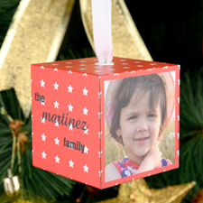 Red Star Personalized Wooded Cube Ornament