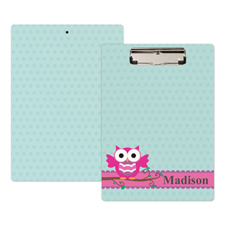 Pink Owl Personalized Clipboard