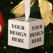 Your Design Here Wood Cube Christmas Ornament