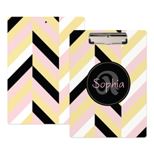 Gold Pink Black Stripe Personalized Clipboard